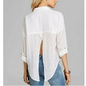 FREE PEOPLE SHIROBI SIREN OPEN SPLIT BACK BLOUSE